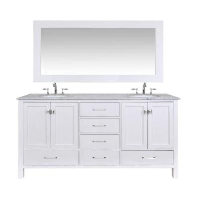 Malibu 72 in. Vanity in Pure White with Marble Vanity Top in Carrara White with Mirror