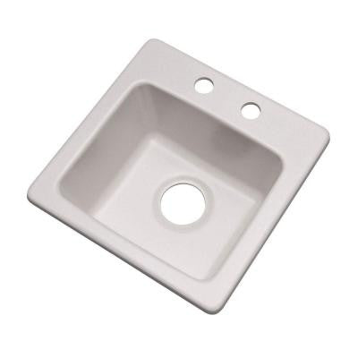 Westminster Dual Mount Composite Granite 16 in. 2-Hole Single Bowl Bar Sink in White