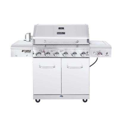 Deluxe 34 in. 6-Burner Gas Grill with Searing Side Burner and LED Lit Control Panel and Rotisserie Burner and Kit