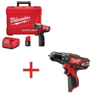 M12 FUEL 12-Volt Lithium-Ion 3/8 in. Cordless Impact Wrench Kit with M12 3/8 in. Hammer Drill/Driver (Tool-Only)