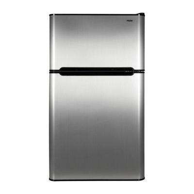 3.2 cu. ft. 2 Door Mini Refrigerator with Separate True Freezer in Virtual Steel