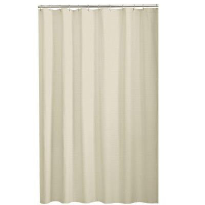 Dobby 72 in. Fabric Shower Curtain in Taupe