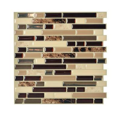 10.00 in. x 10.06 in. Peel and Stick Mosaic Decorative Wall Tile Backsplash in Bellagio Keystone