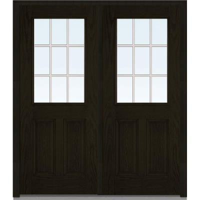 64 in. x 80 in. Classic Clear Glass GBG 1/2 Lite Finished Oak Fiberglass Double Prehung Front Door