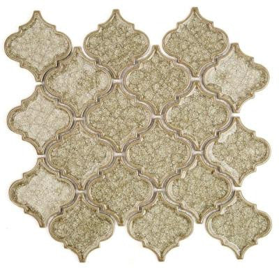 Roman Selection Iced Tan Lantern 9-3/4 in. x 10-1/2 in. x 8 mm Glass Mosaic Tile