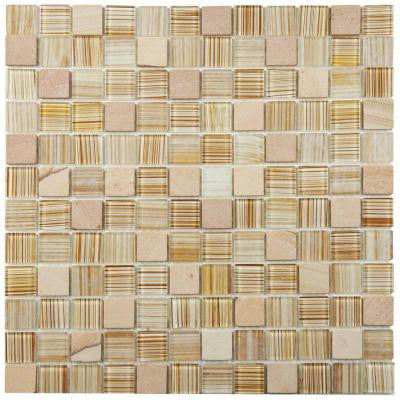 Spectrum Square Butterscotch 11-1/2 in. x 11-1/2 in. x 4 mm Glass and Stone Mosaic Tile