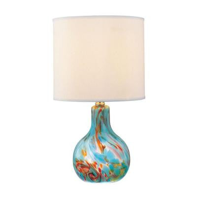 Designer Collection 14.5 in. Steel Table Lamp with Off-White Fabric Shade