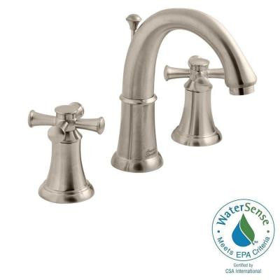 Portsmouth 8 in. Widespread 2-Handle Mid-Arc Bathroom Faucet with Speed Connect Drain in Satin Nickel