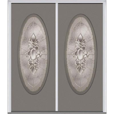 60 in. x 80 in. Heirloom Master Decorative Glass Full Oval Lite Painted Majestic Steel Double Prehung Front Door