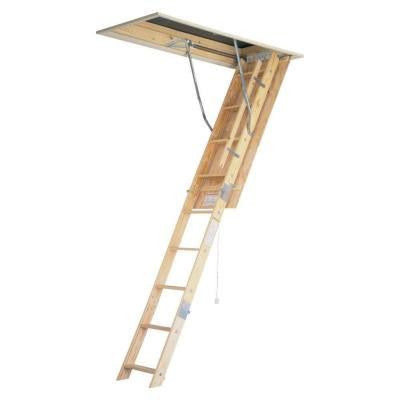 8 ft. - 10 ft., 22.5 in. x 54 in. Wood Universal Fit Attic Ladder with 250 Maximum Load Capacity