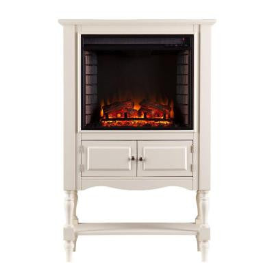 Horatio 32.25 in. Convertible Tower Electric Fireplace in Antique White