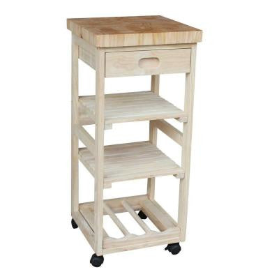 14 in. W Wood Mobile Kitchen Cart in Unfinished