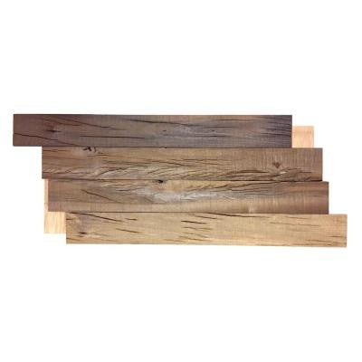 28 in. W x 11 in. H Reclaimed Wood Decorative Wall Panel in Brown (10-Pack)