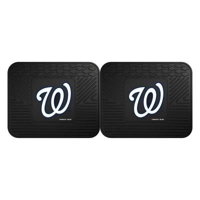 MLB Washington Nationals Black Heavy Duty 2-Piece 14 in. x 17 in. Vinyl Utility Mat
