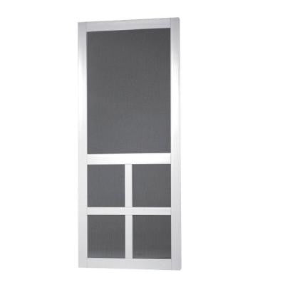 30 in. x 80 in. Lafayette Vinyl White Wide Stile Screen Door
