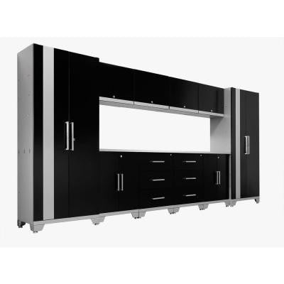 Performance 75 in. H x 156 in. W x 18 in. D Steel Garage Cabinet Set in Black (12-Piece)