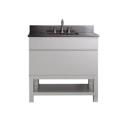 Tribeca 36 in. Vanity in Chilled Gray with Granite Vanity Top in Black