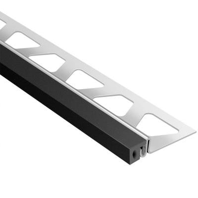 Dilex-KSA Stainless Steel with Black Insert 1/2 in. x 8 ft. 2-1/2 in. Rubber and Metal Movement Joint Tile Edging Trim