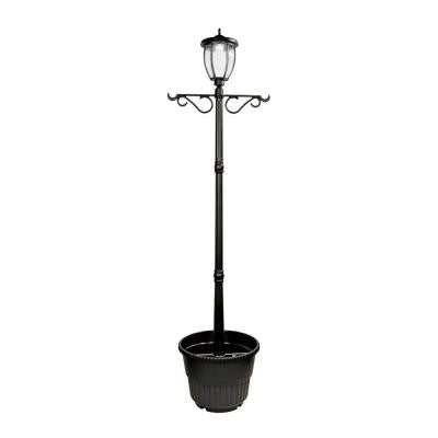 Solar Powered LED Black Outdoor Lamp Post with Planter