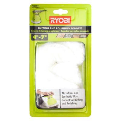 4 - 7 in. Microfiber and Synthetic Fleece Buffing Bonnet Set (2-Piece)