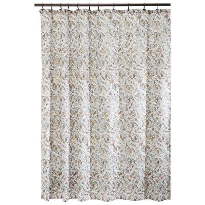 Butterfly 72 in. x 72 in. Shower Curtain in Taupe