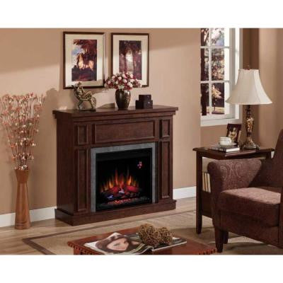 Granville 43 in. Convertible Electric Fireplace in Antique Cherry with Faux Stone Surround