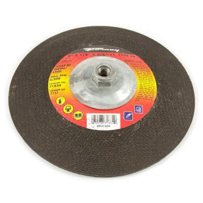 9 in. x 1/4 in. x 5/8 in.-11 Threaded Metal Type 28 Grinding Wheel