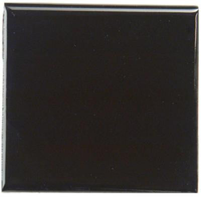 4-1/4 in. x 4-1/4 in. Bright Black Ceramic Surface Cap Wall Tile