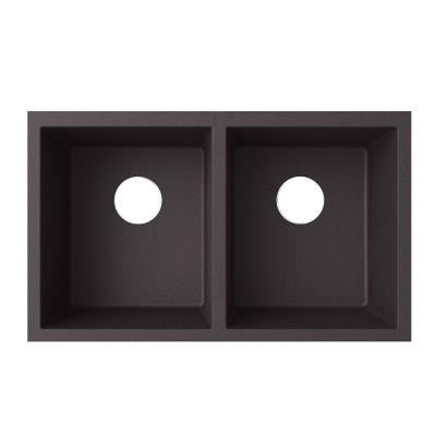 Undermount Granite 21 in. Double Bowl Kitchen Sink in Nero