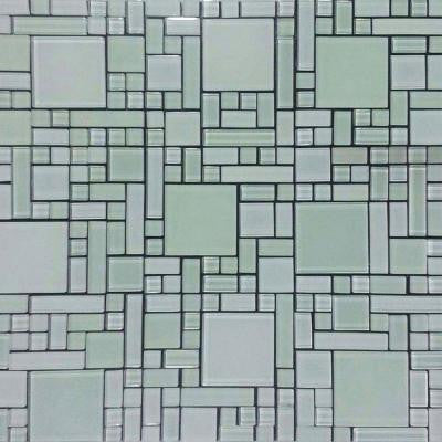 Self Adhesive White 12 in. x 12 in. x 5 mm Glass Mosaic Tile