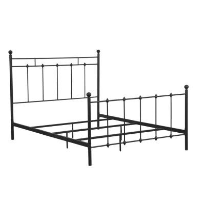 All-In-1 Metal Queen-Size Shaker Headboard and Bed Frame in Black
