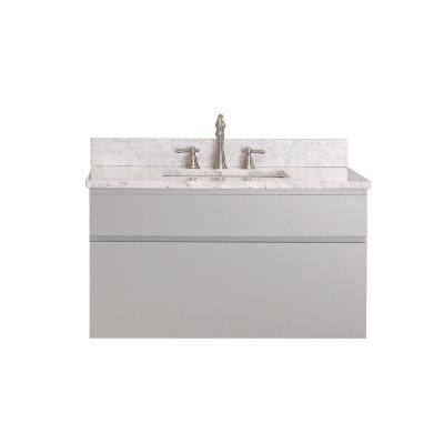 Tribeca 37 in. Vanity in Chilled Gray with Marble Vanity Top in Carrara White