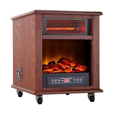 1500-Watt 4-Elment Infrared Electric Portable Heater with Remote Control and Fireplace And Bluetooth Speaker