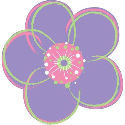 13 in. x 13 in. Purple Poppies Red Flowers Wall Decal