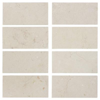Creama 3 in. x 6 in. Honed Marble Floor/Wall Tile (8 pieces / 1 sq. ft. / pack)