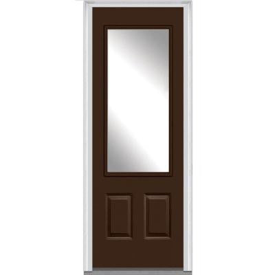 36 in. x 96 in. Classic Clear Glass 3/4-Lite Painted Fiberglass Smooth Prehung Front Door