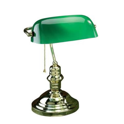 Designer Collection 14.5 in. Steel Desk Lamp with Green Glass Shade