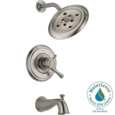 Cassidy 1-Handle H2Okinetic Tub and Shower Faucet Trim Kit Only in Stainless (Valve Not Included)