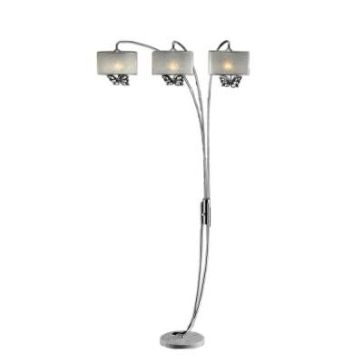 85 in. Hydra Polished Steel Arch Lamp with White Butterfly Shades