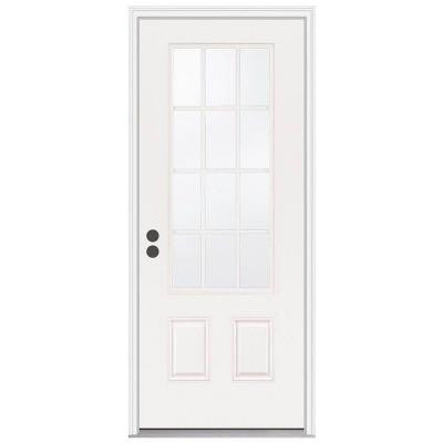 36 in. x 80 in. 12 Lite Primed Premium Steel Prehung Front Door with Brickmould
