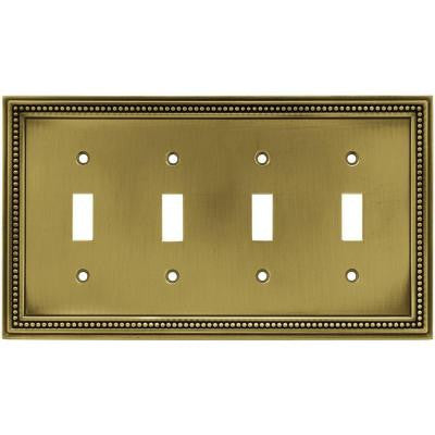 Beaded 4 Toggle Wall Plate - Tumbled Antique Brass