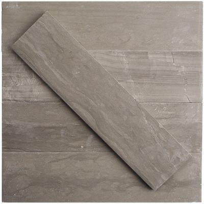 Brushed Coffee Wood 2 in. x 8 in. x 8 mm Marble Mosaic Tile