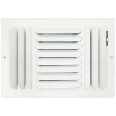 8 in. x 12 in. Ceiling or Wall Register with Curved 3-Way Deflection, White