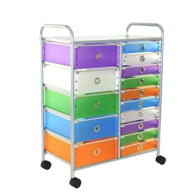 15-Drawer Metal Rolling Storage Cart in Multicolor