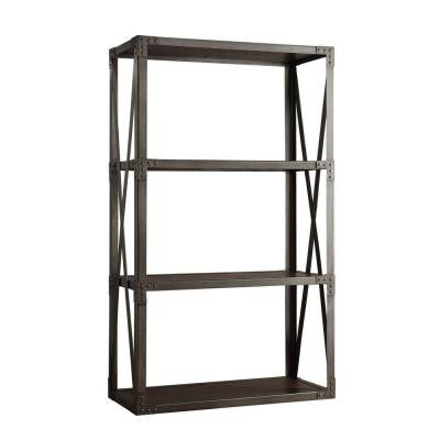 Tarrson 3-Shelf Wide Bookcase in Grey