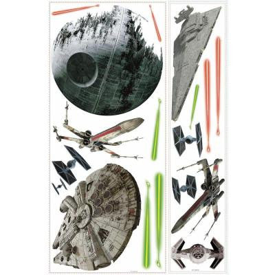 5 in. W x 19 in. H Star Wars Classic Ships 17-Piece Peel and Stick Giant Wall Decal