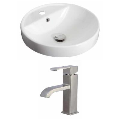 Round Vessel Sink Set in White with Single Hole cUPC Faucet