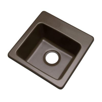 Westminster Drop-In Composite Granite 16 in. 0-Hole Single Bowl Bar Sink in Mocha