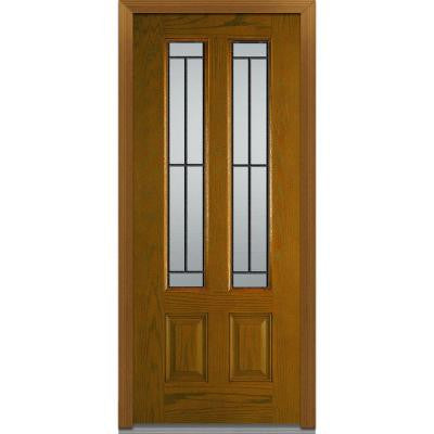 Madison Decorative Glass 36 in. x 80 in. 2 Lite 2-Panel Finished Oak Fiberglass Prehung Front Door