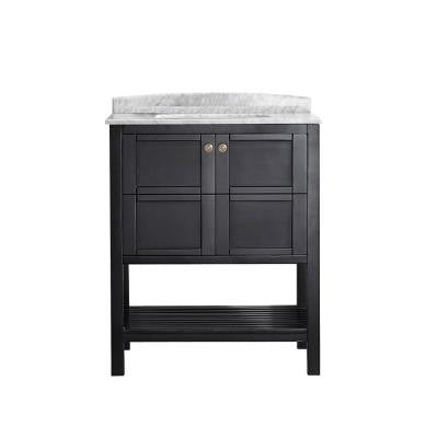 Florence 30 in. W x 22 in. D x 35 in. H Vanity in Espresso with Marble Vanity Top in White with Basin